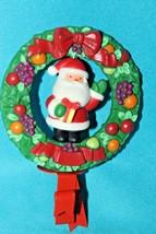 Hallmark Vintage ** Twirl Around Santa in Wreath **Stocking Hanger w/box - $18.95