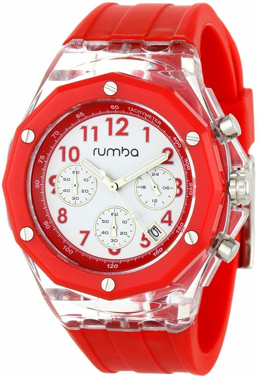 Rumba Time Mens Mercer Big Apple 45MM Clear Red Acrylic White Dial Watch NIB