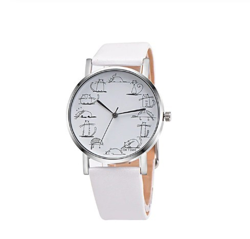 Round Lovely Cartoon Cat Watches Leather Strap Women Casual Wristwatch image 4