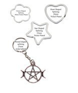 Pentagram & Moons Pewter Emblem split-ring  Heart Star key ring keyring ... - $11.76