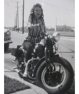 """Original Photograph of a young lady on a Harley Davidson """"Knucklehead"""" M... - $126.06"""