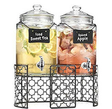 Homephile Two (2) 1 Gallon Each Quality Ice Cold Clear Glass Jug Beverag... - $39.59