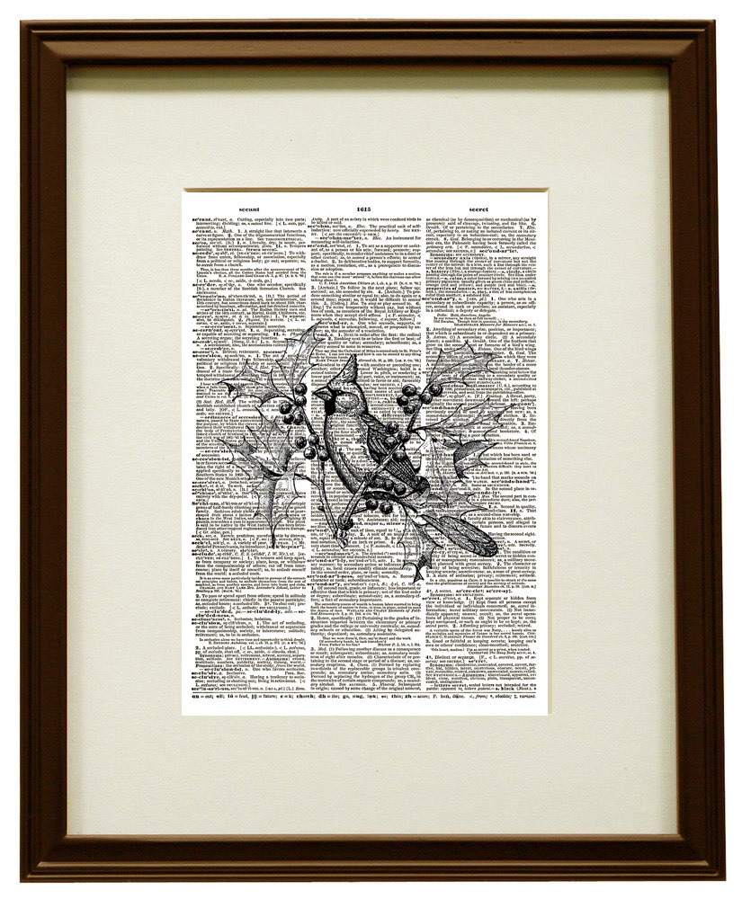 Cardinal Bird on Holly Branch Animal Vintage Dictionary Art Print No. 0194