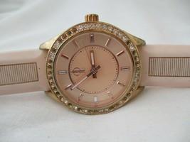 Jennifer Lopez Rose Goldtone Watch, Rhinestones, Rubber Buckle Band, WORKING! - $29.00