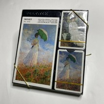 Piatnik Bridge Gift Set Double Deck Playing Cards Monet Woman With Parasol - $21.99