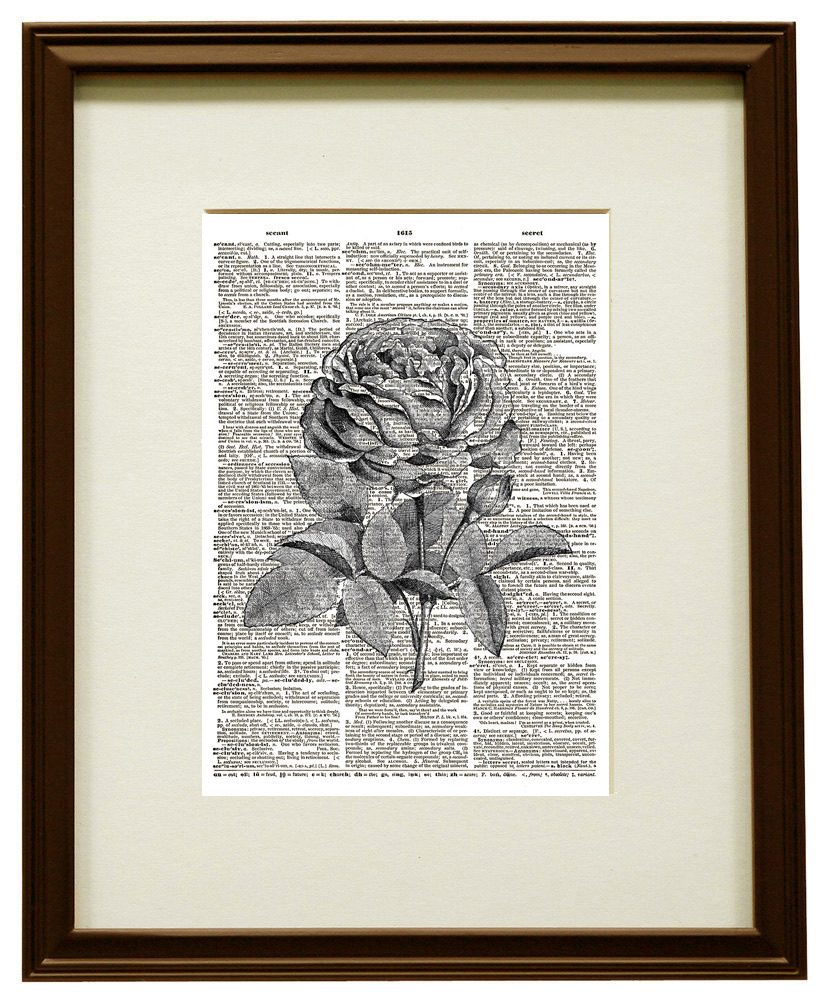 Blooming Rose Flower Vintage Dictionary Page Art Print No. 0195