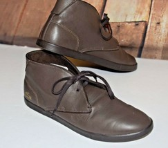 Lacoste Men Sz 11 Chukka Boots Arona Lace Up Brown Leather Logo Shock Ab... - $63.10