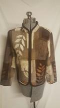 Coldwater Creek brown zip front jacket Petite medium M floral - $19.34