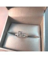 14k White Gold Antique Diamond Solitaire Engagement Ring 2.35g Size 7.5 ... - $197.99