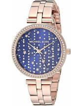 Michael Kors Women's Watch Ladies RoseGold Steel Bracelet Blue Dial MK4451 - $235.03