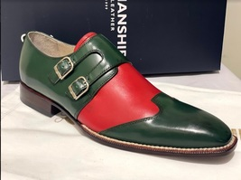 Handmade Men's Green & Red Double Buckle Monk Strap Leather Shoes image 2