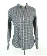 TALBOTS Size 14 Petite 14P Black White Shimmer Plaid Wrinkle Resist Shir... - $24.99