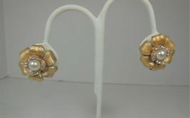 Gold Tone Faux Pearl & Rhinestone Flower Earrings - $10.88