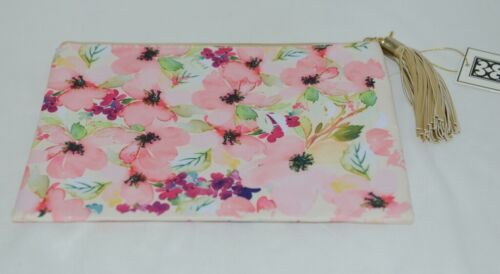 Mary Square 20089  Pink Floral Pouch Multi Color Flowers Off White