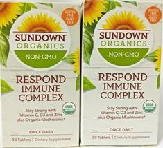 2 Sundown Organics Respond Immune Complex Vitamin C, D3+Mushrooms Exp 06/2022 D9 - $19.75