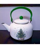 "Nikko Christmastime Decorated Tree White Metal Enamel Tea Kettle 9.5"" Ho... - $25.23"