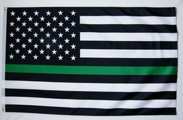Thin Green Line Federal Employees USA Memorial Flag 3' X 5' Indoor Outdo... - $9.95