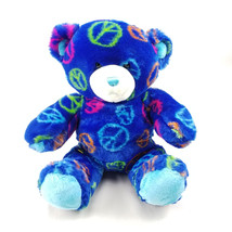 "Build A Bear Blue Teddy Plush Peace Sign Stuffed Animal 15"" - $11.64"