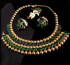Vintage Weiss Parue - Choker necklace - green rhinestone bracelet - Retr... - $225.00