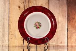 Homer Laughlin K42 N4 Dinner Plate 22K Gold Filigree on Red Rim, Floral Center - $22.00