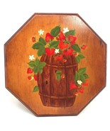 """Vintage Wood Plaque Wall Decor w/ Basket of Strawberries 10""""H - $53.99"""