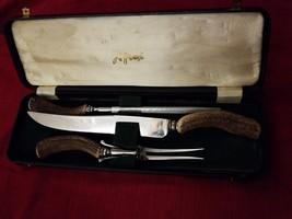 Vintage John Wanamaker Bone handle knife set with Box - $29.55