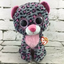 "Ty Beanie Boos 8"" Tasha Plush Pink Gray Spotted Leopard Glitter Eyes Stuffed Toy - $9.89"