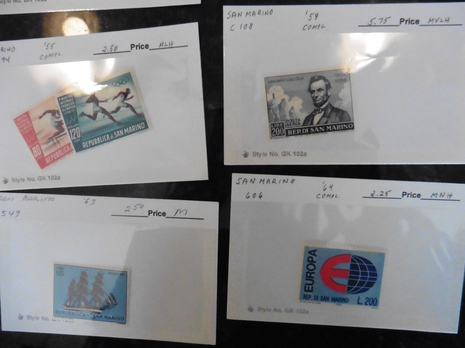 G41 LOT of stamps San Marino 1946 50L stamp day 1947 1c bollo '59 Lincoln 200L +
