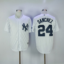 Swen Logo New York Yankees 24 Gary Sanchez White Pinstripe Cool Base Jersey - $48.00