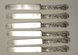 Six Ornate Antique Plated Silver Dinner Knives With French Blades #22 - $28.49