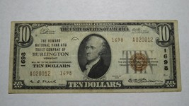$10 1929 Burlington Vermont VT National Currency Bank Note Bill! Ch. #16... - $140.24
