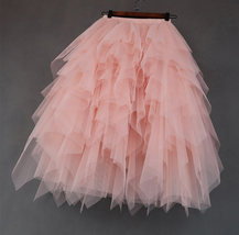 Love Me More Tulle Layered Skirt Pink High Low Long Layered Tulle Skirt Adults image 2