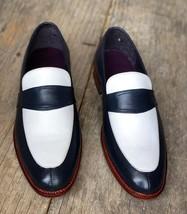 Handmade Men's Black & White Slip Ons Loafer Leather Shoes image 4
