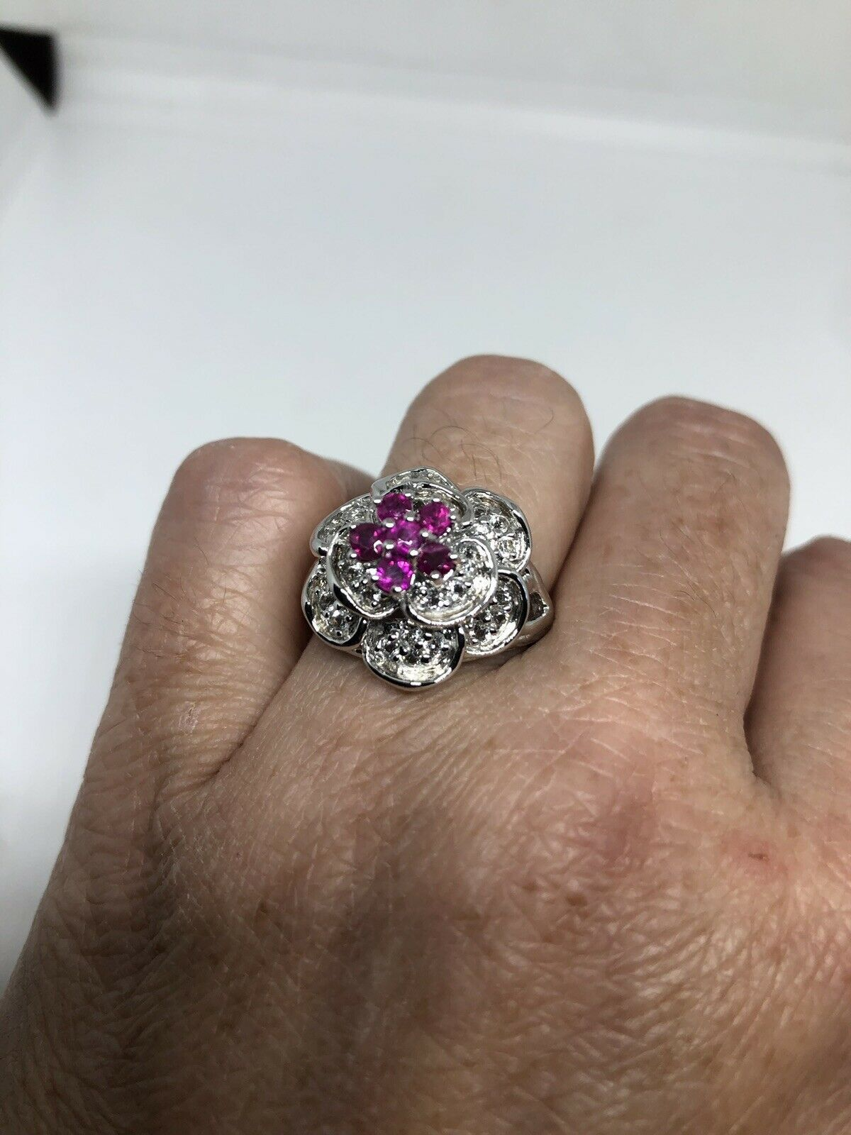 Primary image for Vintage Ruby Rose Ring White Sapphire 925 Sterling Silver Size 8