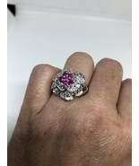 Vintage Ruby Rose Ring White Sapphire 925 Sterling Silver Size 8 - $130.68