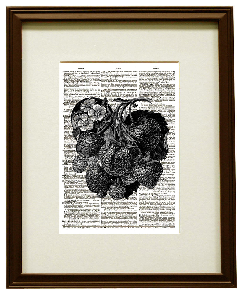 Strawberries on the Vine Vintage Dictionary Page Art Print No. 0199