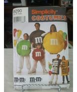 Simplicity 8290 Adult & Child M & M's Costume Pattern - Size S/M/L Chest... - $10.88