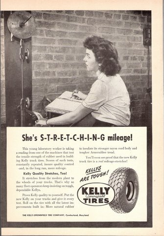 1947 Kelly Springfield Tires laboratory testing print ad