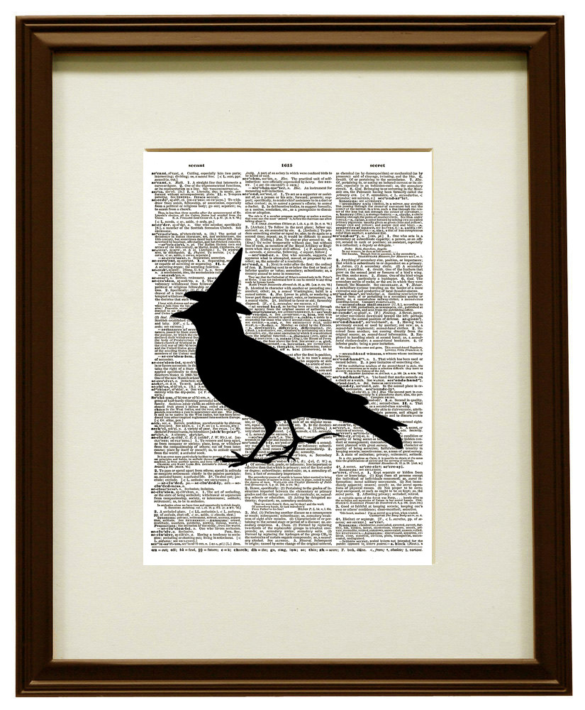 Witch Bird Silhouette Halloween Vintage Dictionary Page Art Print No. 0200