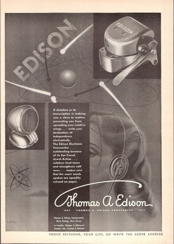 1947 Thomas Edison Electronic Voicewriter Ear-Tuned print ad