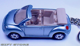 RARE KEY CHAIN SILVER/BLUE VW NEW BEETLE VOLKSWAGEN CONVERTIBLE LIMITED ... - $38.98