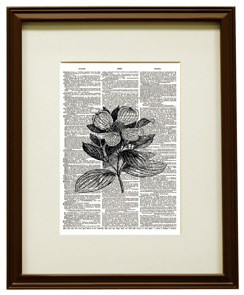 Dogwood Tree Flower Vintage Dictionary Page Art Print No. 0201