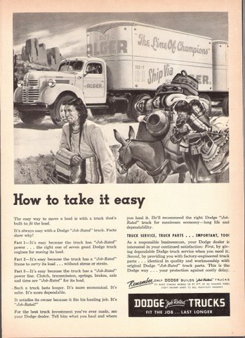 1947 Dodge Job-Rated Trucks with Indians & Donkeys print ad
