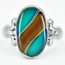 Oval & Ribbon Shaped Multi-Color Changing Contrasting Silver Painted Mood Ring image 5