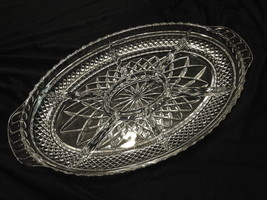 "Fabulous 17"" Crystal Oval Tray 7-Part Divided Diamond Grid Criss Cross H... - $25.00"