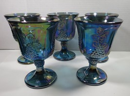 Indiana Glass Blue Carnival Harvest Grape 5 Goblets Iridescent - $42.08