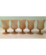 Lot of 5 VINTAGE HAND BLOWN Tan Wine Glasses Goblets Tulip Cocktail Stem... - $53.99