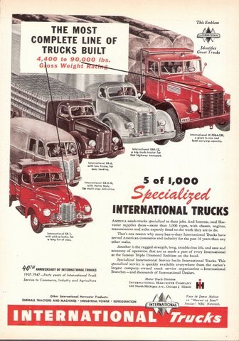 1947 IH International Trucks 40th Anniversary print ad