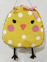 "EASTER Burlap Yellow Polka Dot Chick Wall Sign Decor 13"" - $22.99"