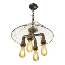 Modern Farmhouse 4-Light Iron & Wire Cage Chandelier, Edison Antique-Style - $225.00